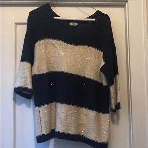 Charming Charlie half sleeve navy & cream sweater